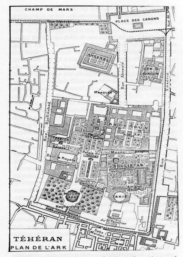 Fig. 13. Map of the arg by Jean-Baptiste Feuvrier in Trois ans à la cour de Perse, Paris, 1900; 2nd ed., Paris, 1906.