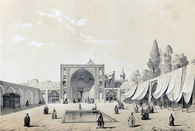Fig. 3. Illustration of Masjid Soltanī by French Orientalist painter Eugène Flandin made during his travels to Persia between 1839-1841. Eugène Flandin, Voyage en Perse, avec Flandin, éd. Gide et Baudry, 1851, Vol. 2.