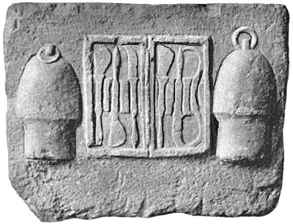دو بادکش به همراه ابزار جراحی باز، منقوش بر سنگ مرمر هلنی، موزۀ ملی باستانشناسی آتن.