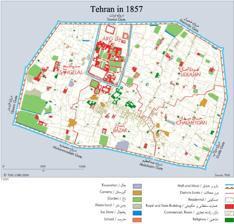 Fig. 8. Map of Tehran in 1857, http://en.tehran.ir.