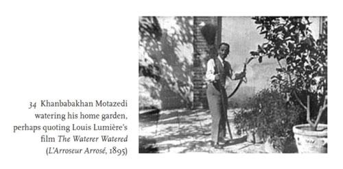 تصویر 3. عکسی از خانباباخان معتضدی و شرح مربوط به آن. برگرفته از صفحۀ 69 متن اصلی تاریخ اجتماعی سینمای ایران.