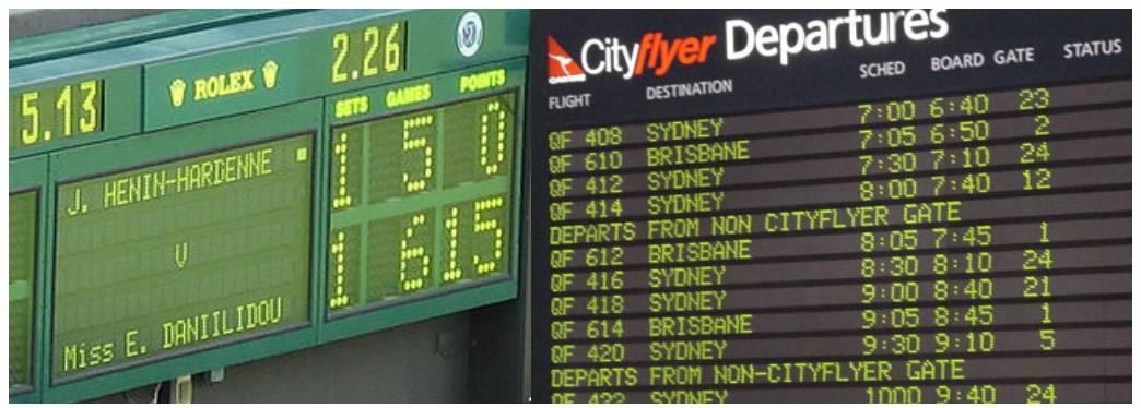 شکل ۱۸. نمایشگرهای نقطهای اولیه که در فرودگاهها و میدانهای ورزشی نصب میشدند. تصویر راست برگرفته از  http://computronics.biz/productimages/prodairport3.jpg/.